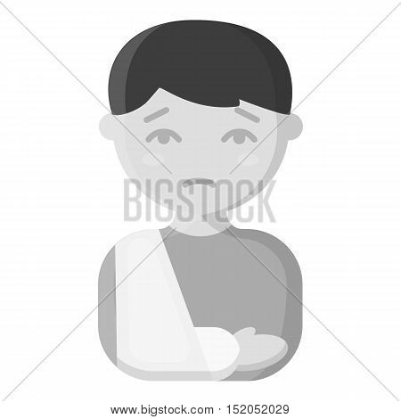 Fracture icon monochrome. Single sick icon from the big ill, disease monochrome.