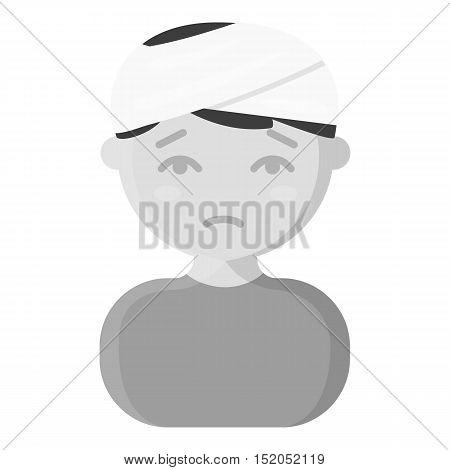 Head injury icon monochrome. Single sick icon from the big ill, disease monochrome.