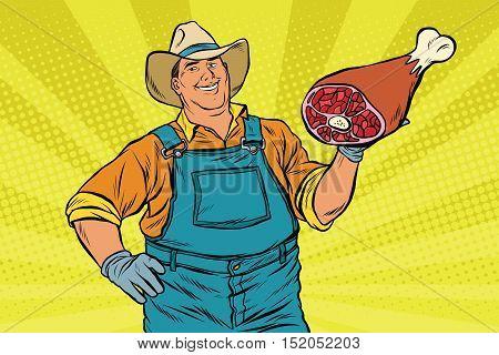 Rural retro farmer and meat leg, pop art retro vector illustration