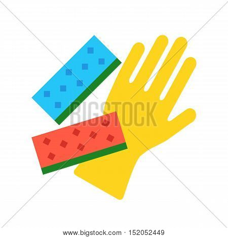 Vector cleaning glove and kitchen sponges. Dishwashing, house cleaning concepts. Flat design illustration