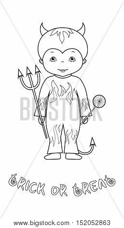 Trick or treat halloween vector coloring page with cute cartoon devil