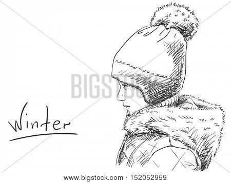 Sketch of young girl in winter hat. Hand drawn vector illustration