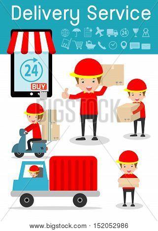 delivery service, set of delivery man, modern design flat character people, delivery business concept, transportation Vector Illustration.