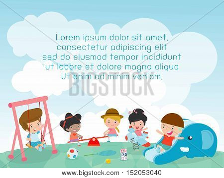 children in the playground, Template for advertising brochure, kids at playground, kids time,your text ,Kids and frame,child and frame,Vector Illustration
