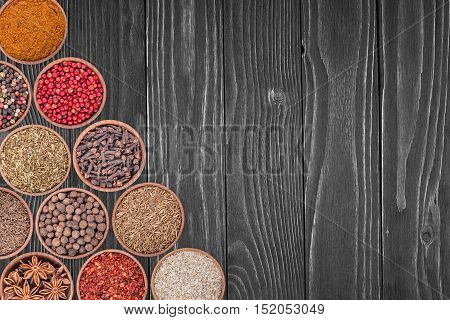 Various spices selection.Abstract background, empty template. Top view.