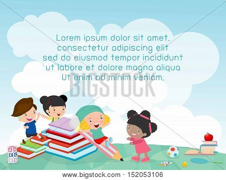 back to school, kids school, education concept, Kids go to school, Template for advertising brochure, your text ,Kids and frame,child and frame,Vector Illustration, Cute cartooen happy children.