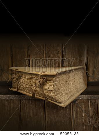 Ancient book. Background Library. Fantasy book. Vertical