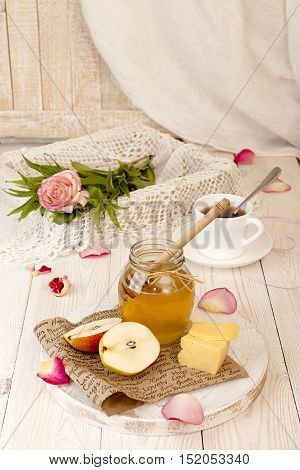Breakfast With Delicious Sweet Honey, Tea, Cheese And Pear