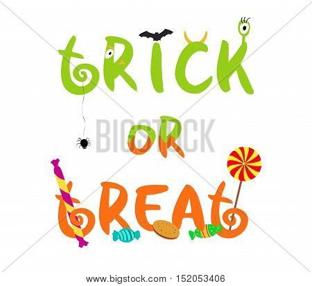 Trick or treat decorative vector text with spooky elements and sweets for halloween holiday isolated on white