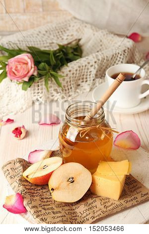 Breakfast With Delicious Sweet Honey, Cheese And Pear.