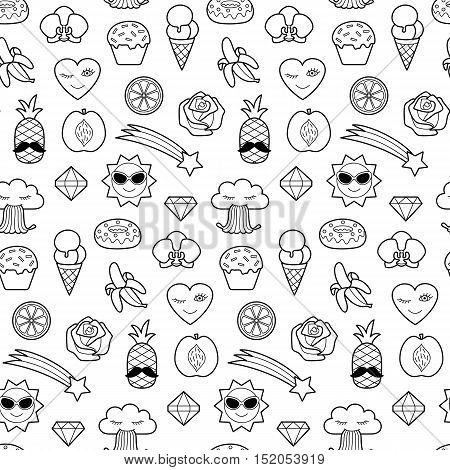 Seamless pattern of fashion coloring patches. Pin badges wallpaper. Black and white stickers collection. Textile print with appliques for denim or clothes.