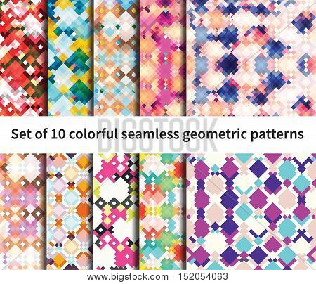 Set of 10 seamless vector fantasy pattern. Geometrical elements, bright colors, edgy shapes