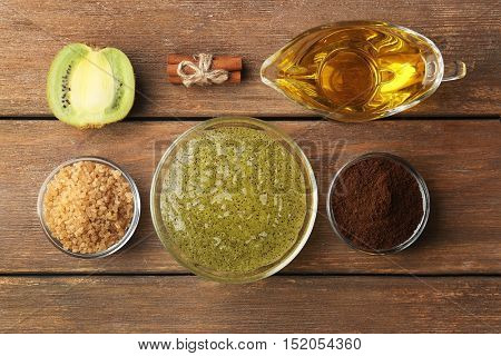 Homemade facial mask with natural ingredients on wooden background