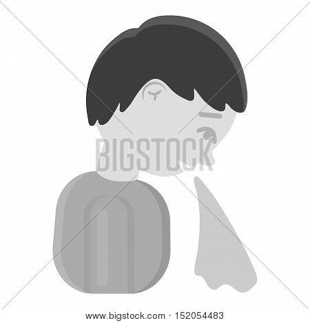 Vomiting icon monochrome. Single sick icon from the big ill, disease monochrome.