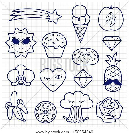 Fashion coloring patches. Pin badges set. Black and white stickers collection. Sketch of appliques for denim or clothes on squared paper.