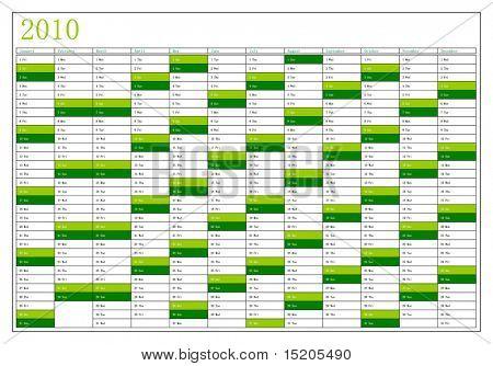 A vector calendar 2010