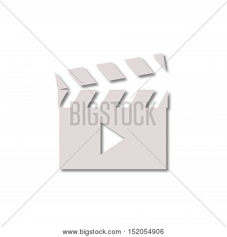 Movie clapper sign icon on white background