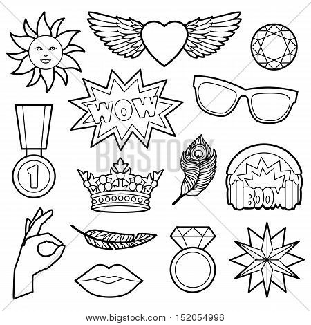 Fashion coloring patches. Pin badges set. Black and white stickers collection. Appliques for denim or clothes.