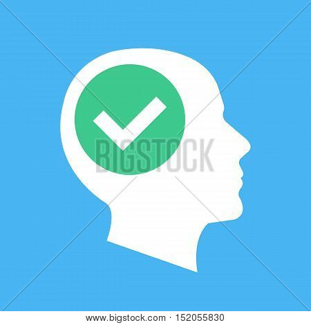 White human head silhouette and green checkmark icon. Tick in green circle. Abstract concept. Flat design vector illustration isolated on blue background