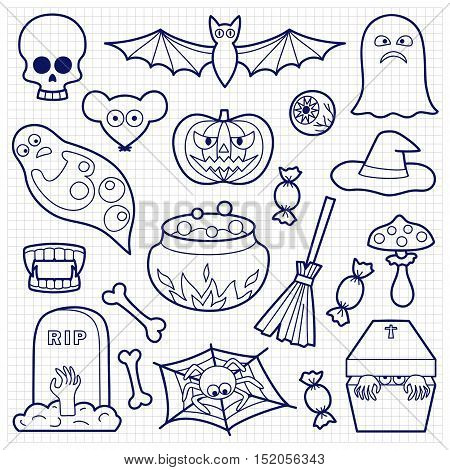 Halloween coloring patches. Pin badges set. Black and white stickers collection. Appliques on squared paper.
