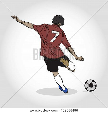Soccer Boy. Kicking the ball. Shooting attempt.