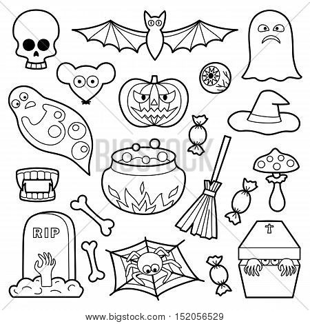 Halloween coloring patches. Pin badges set. Black and white stickers collection. Appliques for denim or clothes.