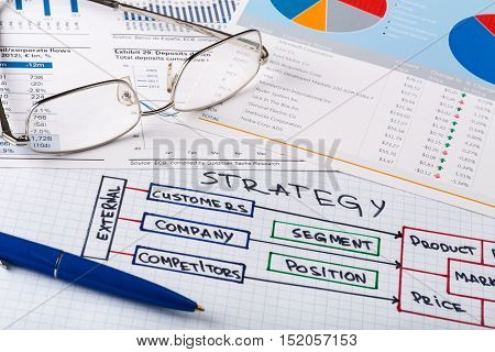 Pen and Eyeglasses on Business Graphs and Business Plan