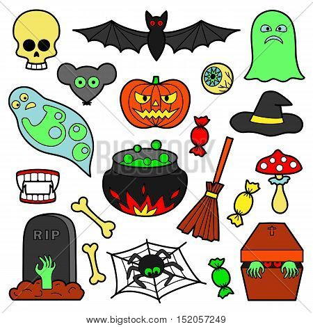 Halloween colorful patches. Pin badges set. Stickers collection. Appliques for denim or clothes.