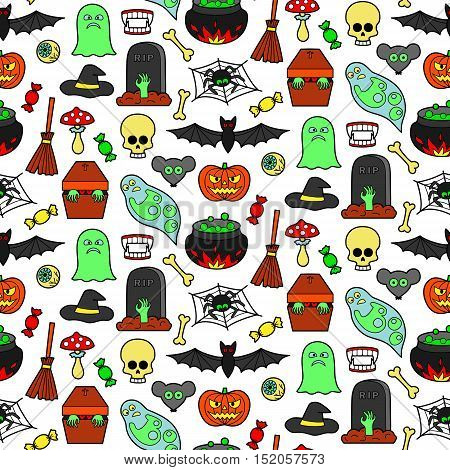 Seamless pattern with Halloween coloring patches. Pin badges set background. Colorful stickers wallpaper. Textile print for clothes.