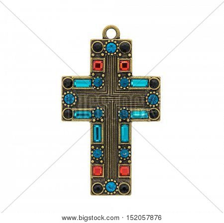 cross pendant isolated on white background