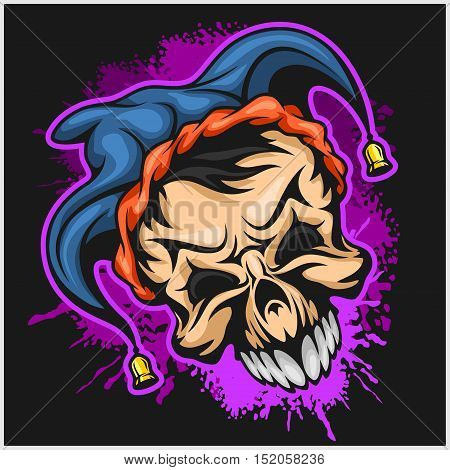 Evil scary clown. Halloween monster, joker character. Vector illustration on grunge background