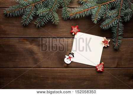 Christmas decoration on wooden background vintage christmas card
