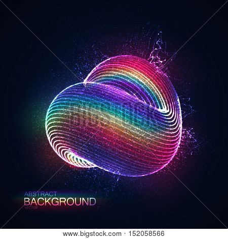 3D abstract loop shape of rainbow illuminated particles. Futuristic vector illustration. Technology or Physics vector concept