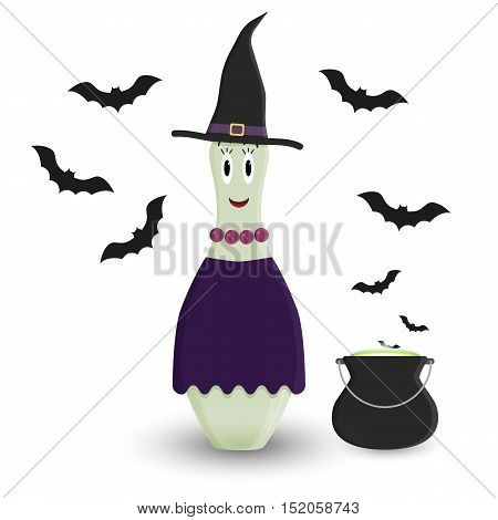 Stylized vector halloween skittle in costume of witch. Female skittle witch with black pot and black silhouettes of bats.