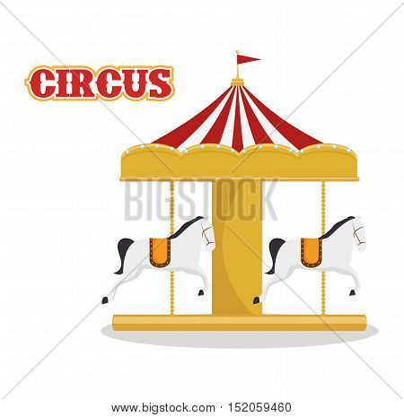 carousel horses circus atraction over white background. colorful design. vector illustration