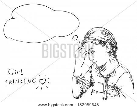 Sketch of young girl thinking, Hand drawn vector illustration