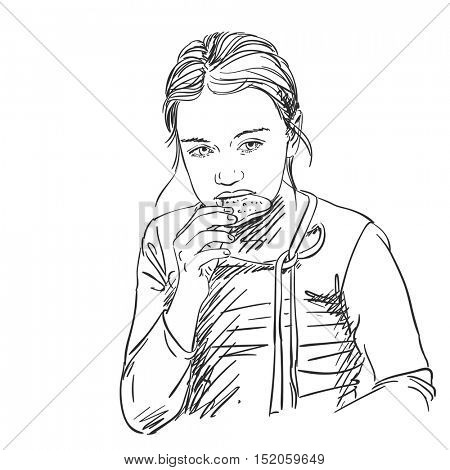 Sketch of young girl eating cookie, Hand drawn vector illustration