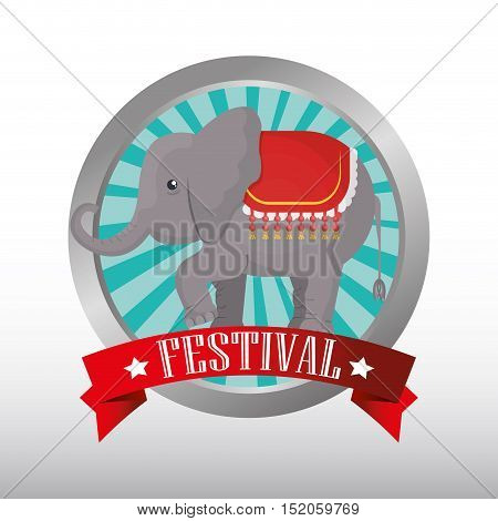 button with ribbon and elephant circus festival  show icon over white background. colorful design. vector illustration