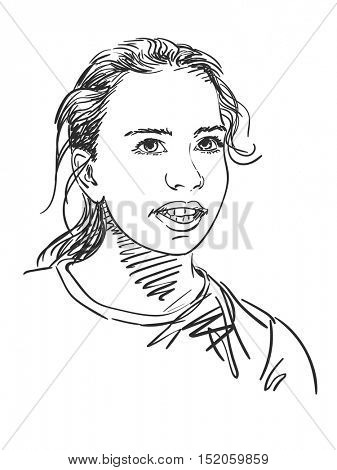 Sketch of beautiful young girl talking, Hand drawn vector illustration