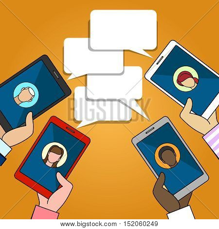 Chat connection vector illustration. Friends holding phones with discussing bubble messages