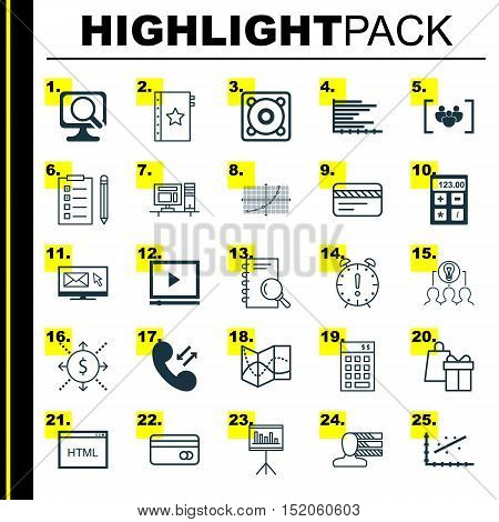 Set Of 25 Universal Editable Icons For Airport, Advertising And Computer Hardware Topics. Includes I