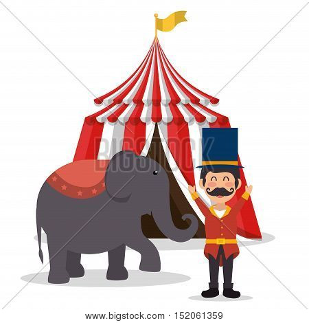 red and white striped tent circus and elephant show icon over white background. colorful design. vector illustration