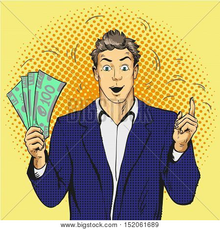 Rich handsome guy hold money and point his finger up. Business and finance concept vector illustration in retro comic pop art style.