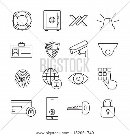 Protection and security line icons. Vector illustration.