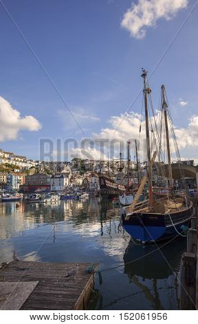 Yachts and fishing boats at Brixham harbour, Devon, England