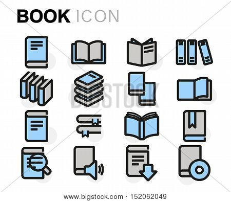 Vector flat line book icons set on white background