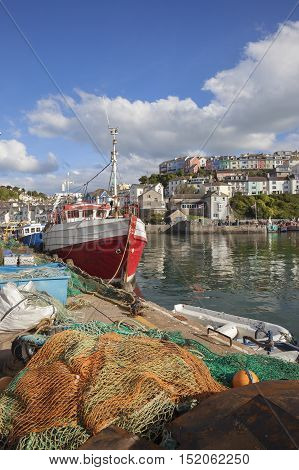 Fishing boat at Brixham harbour, Devon, England
