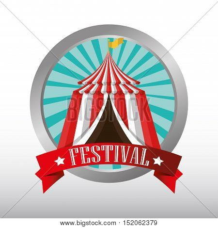button red and white striped tent circus icon. colorful design. vector illustration