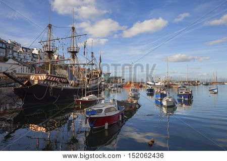 Sailing boats at Brixham harbour, Devon, England