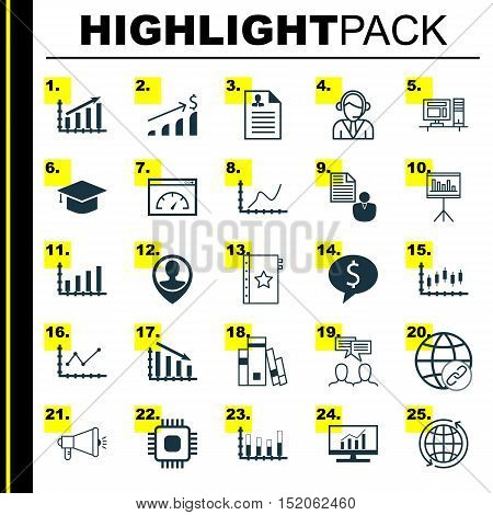 Set Of 25 Universal Editable Icons For Human Resources, Statistics And Project Management Topics. In